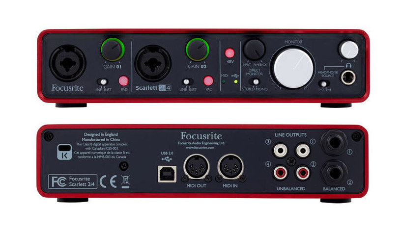 how to connect midi keyboard to focusrite scarlett 2i4