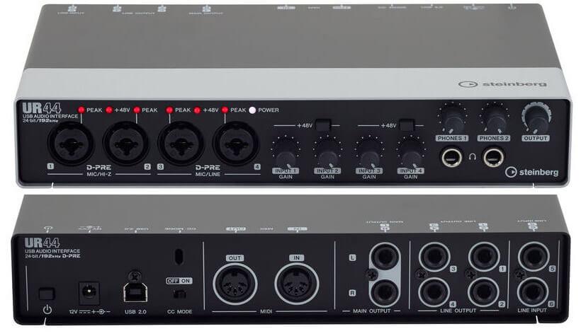Recensione Steinberg UR44 - interfaccia esterna USB con 6 in, 4out, MIDI, effetti DSP e 2 uscite cuffia
