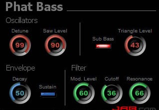 Fra le caratteristiche di Phat Bass:  There are 2 saw wave oscillators and a detune control that simultaneously sharpens one oscillator and flattens the other to get a fat sound.