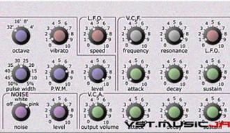 Leto - fra le caratteristiche di questo synth monofonico:  Un LFO singolo modula pitch, filter cutoff e pulsewidth.