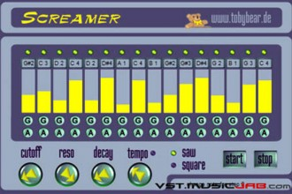Fra le caratteristiche di Screamer:  A rather simple sound generation (VCO), a lowpass filter (VCF) and envelope decay control (VCA), together with a 16-step sequencer are the basis for this plugin.